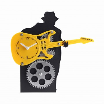 Guitar Table Stand Clock - Yellow